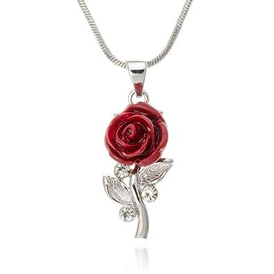 Amazon pammyj small single red rose pendant necklace 18 jewelry pammyj small single red rose pendant necklace 18quot aloadofball Gallery