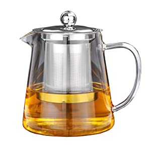 Glass Teapot with Infuser - OBOR large capacity Borosilicate Tea Glass Maker with Removable 304 Stainless Steel Infuser for Blooming and Loose Leaf, Stovetop Safe 950ml/32oz