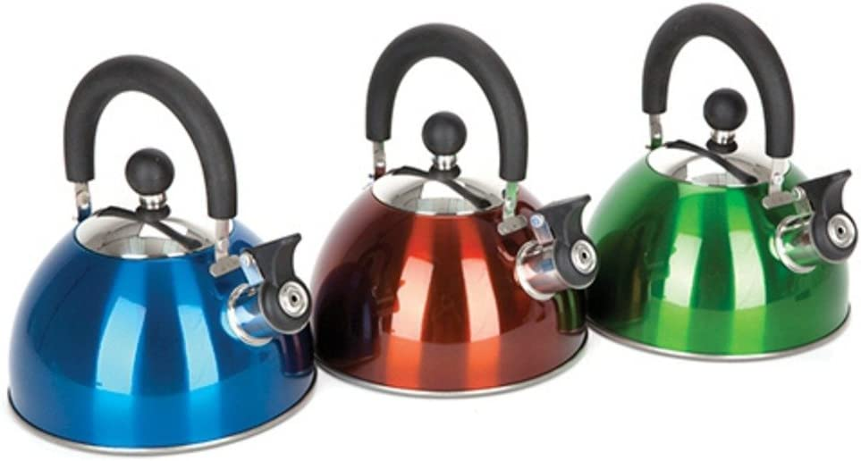 1 Litre Small Light Weight Aluminium Whistling Camping Kettle Teapot Assorted