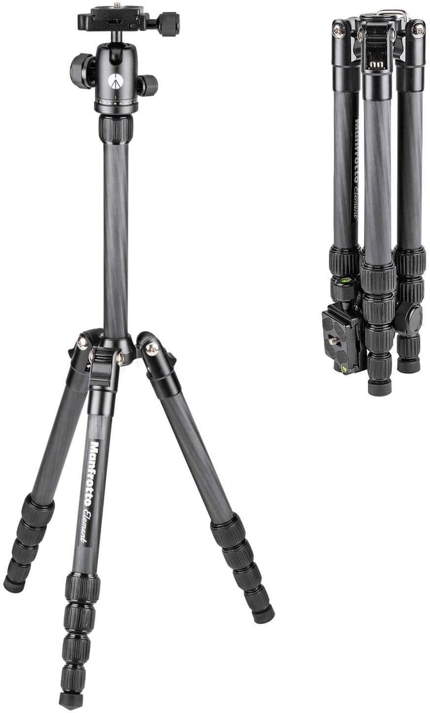Manfrotto Element Traveller Carbono Kit Grande Rotula Trípode de Cámara