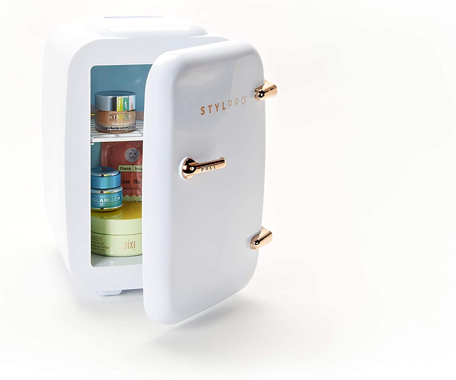 StylPro Rose Gold Mini Beauty Fridge (4 Liter/6 can): AC/DC Portable Thermoelectric Cooler and Warmer for Skincare, Nail Polish, Serums, Creams, Moisturizers, Toners, Sunscreen and Home Items