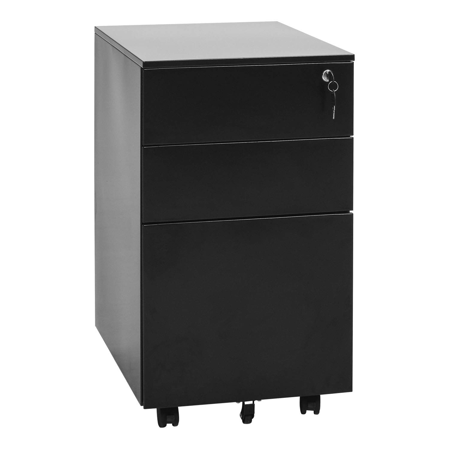 INVIE Mobility File Cabinet with Lock for Closet/Office,Metal Rolling Cabinet 3 Drawers Fully Assembled (Black C) by INVIE