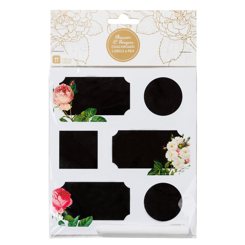 18 Talking Tables Floral Blossom /& Brogues Chalk Paper Stickers /& Pen Wedding