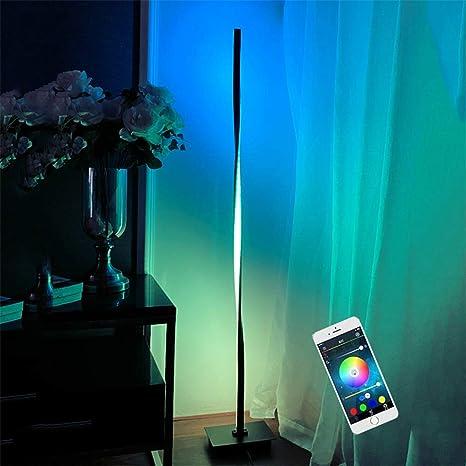 20W Lampada da Paviment per Soggiorno Ufficio Camera da letto Lavorare con Smartphone Nera Alexa Google Assistant LED RGB Lampada da Terra Bar Caff/è Intelligente Piantana da Terra Dimmerabile