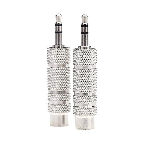 Andoer® Par de Audio Jack Adaptador Convertidor Enchufe Estéreo para Guitarras Eléctricas Micrófono Auriculares 3.5