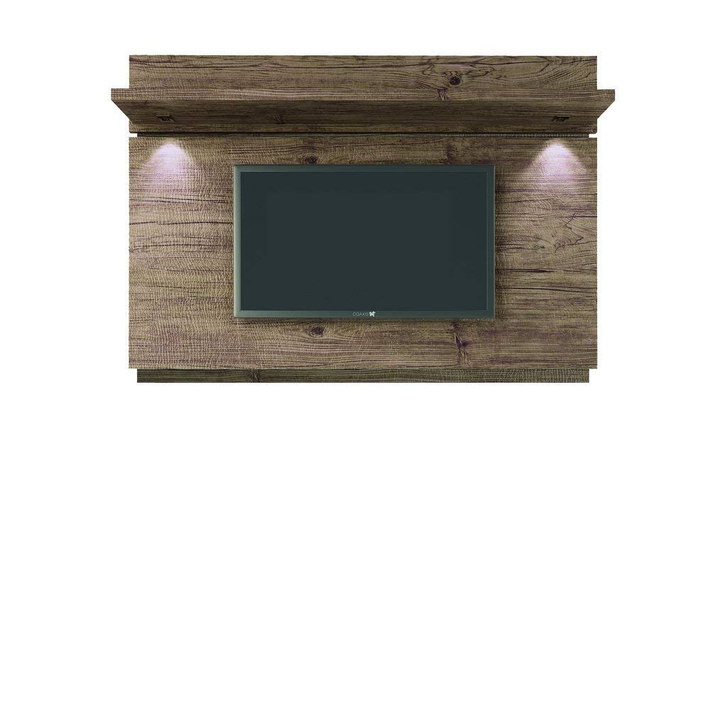 Manhattan Comfort Carnegie TV Stand and Park 1.8 Floating Wall TV Panel with LED Lights in Nature and Nude