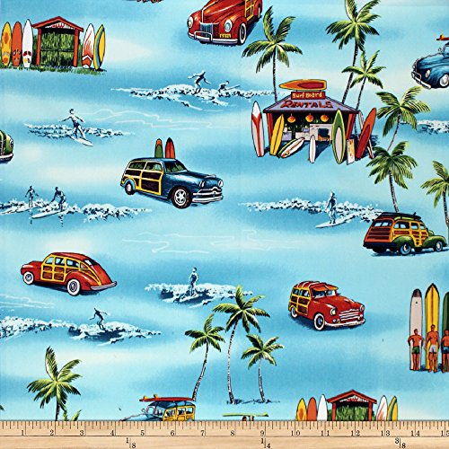 Pacific Fabric Blue (Trans-Pacific Textiles Waikiki Surf Shack Aqua Fabric By The Yard)