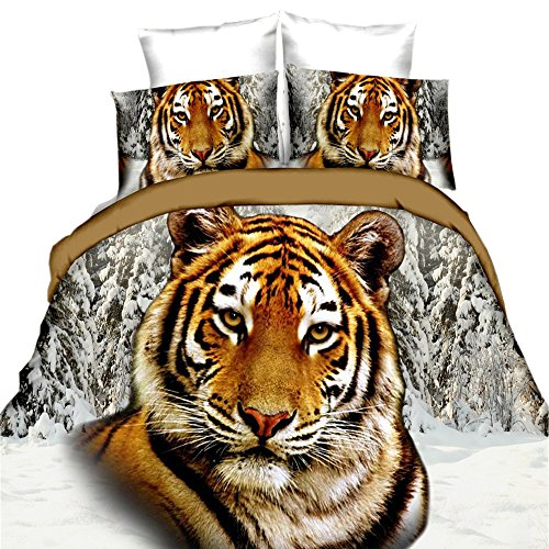 (EsyDream 3D Oil Painting Animal Tiger Print Boys Bedding Sets 4PC No Comforter 100% Polyester Queen Size Tiger Duvet Cover)