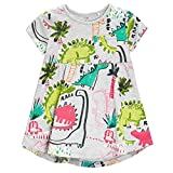 #7: Frogwill Girls Green Dinosaur Tunic Short Sleeve Summer Casual Dress 2-7T
