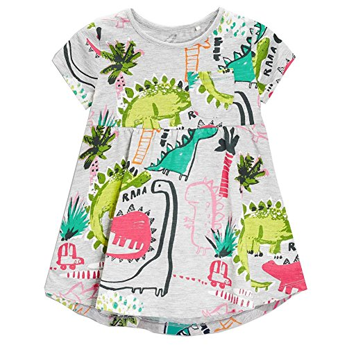 Girls Green Dinosaur Tunic Short Sleeve Summer Casual Dress 2-7T
