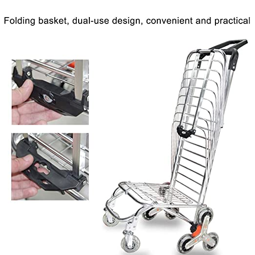 24cfabfee43a ZSLLO Shopping Cart Large Capacity - Rubber Wheels -Shopping ...
