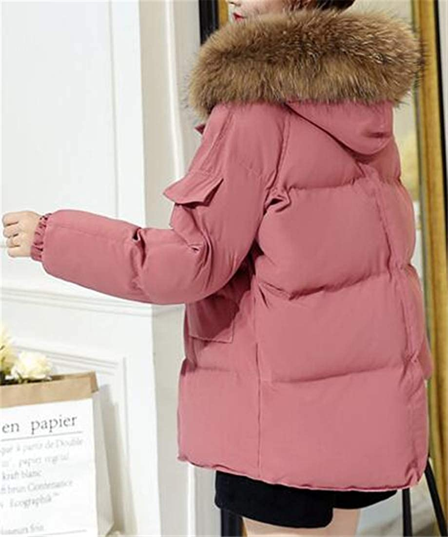 Easonp Womens Raglan Sleeve Loose Hooded Faux Fur Collar Thickened Parkas Down Coats