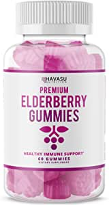 Havasu Nutrition Elderberry Gummies 100mg - Supports Immune System Health - Made with Plant-Based Pectin - NO Gelatin, NO Fructose Corn Syrup, Gluten Free - Natural Ingredients, 60 Gummies