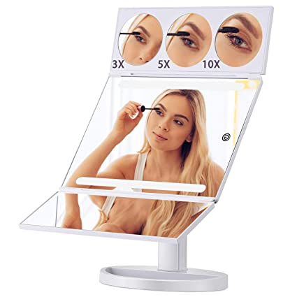 5x Magnification Tri Fold Lighted Mirror Littlefield