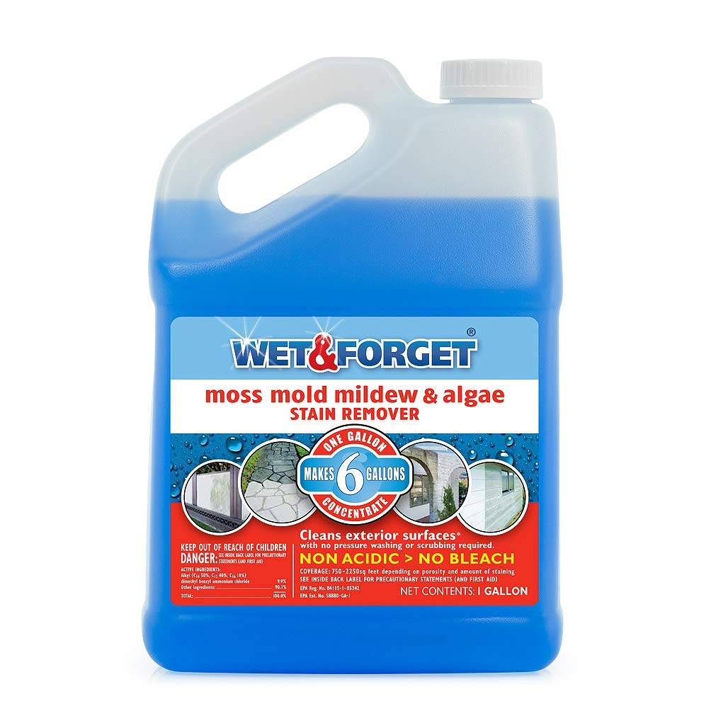 Wet and Forget 10587 1 Gallon Moss, Mold and Mildew Stain Remover (Pack of 4-)