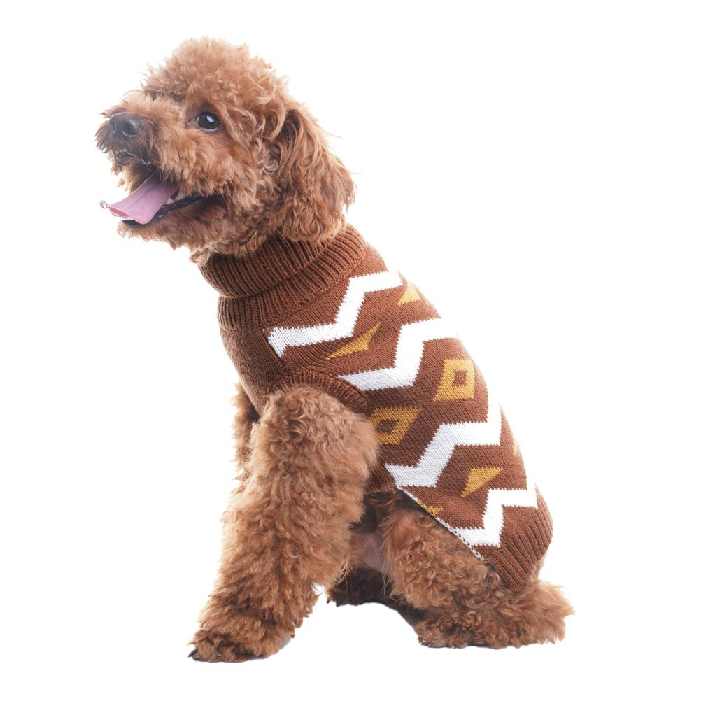 Coffee S Coffee S PUPTECK Dog Sweater Diamond Pattern Pet Festive Warm Coat Puppy Winter Clothes Coffee Small