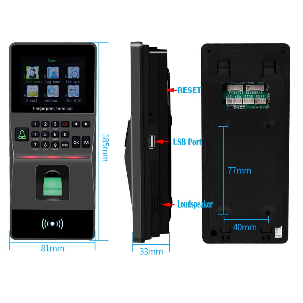 with Software Biometric Fingerprint Password Time Clock Attendance Machine Support USB//RS485 YAVIS RFID IP//TCP Fingerprint Access Controller Keypad Door Entry Access Control System 2.8 Inch