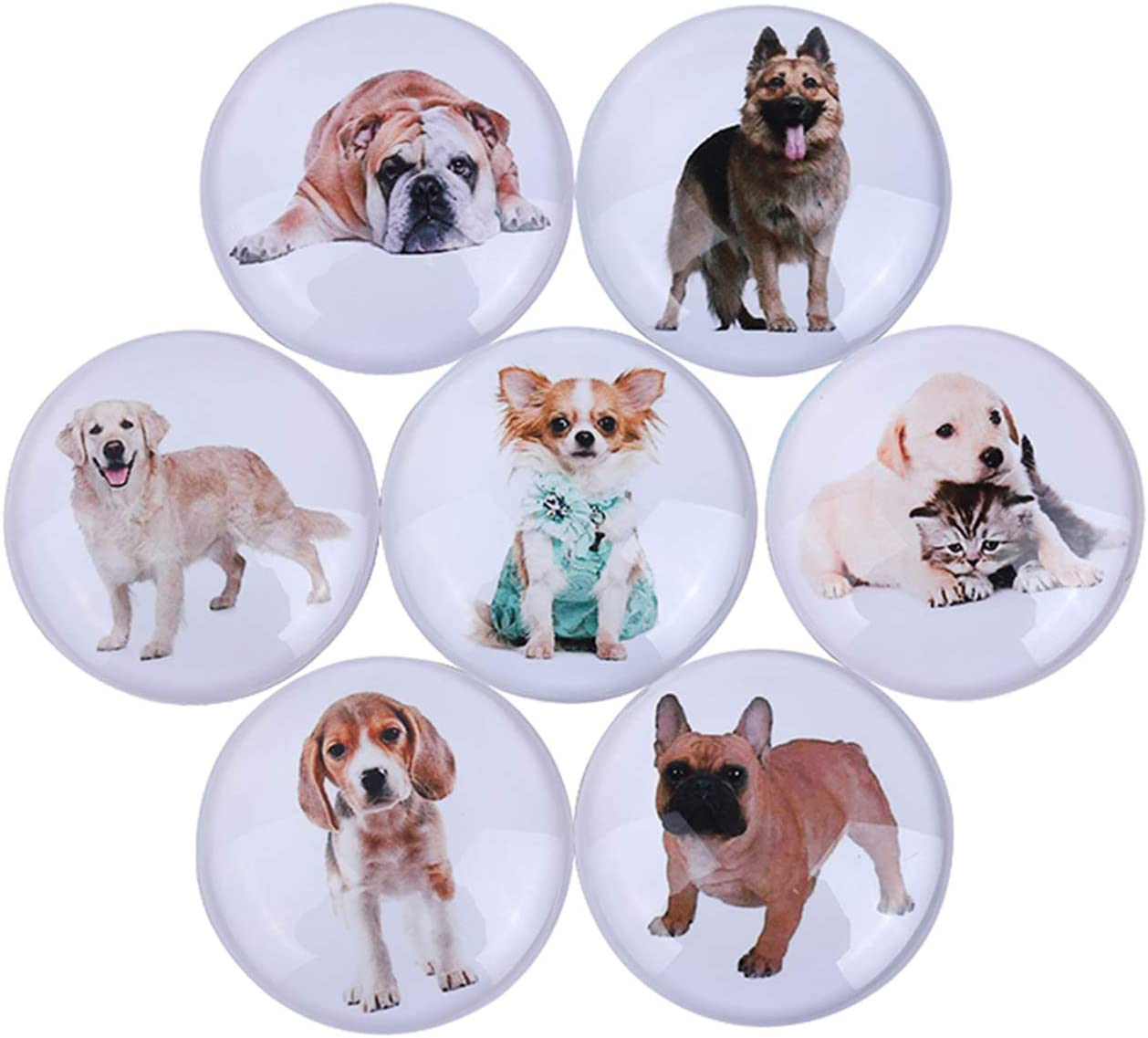 Fridge Magnets Dog Refrigerator Magnets Round Color Decorative Magnets Kitchen Magnets Christmas Decoration Magnets DIY