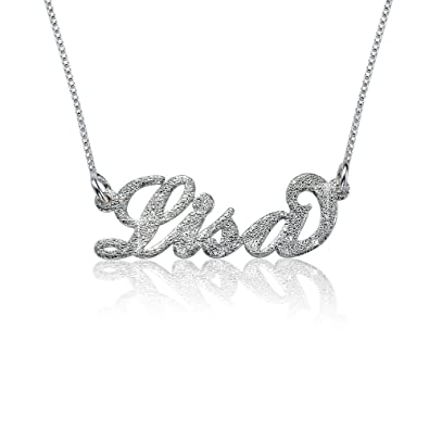 Amazon sparkling diamond cut sterling silver personalized name sparkling diamond cut sterling silver personalized name necklace custom made with any name aloadofball Images