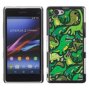PC/Aluminum Funda Carcasa protectora para Sony Xperia Z1 Compact D5503 Cartoon Dinosaur Green T Rex / JUSTGO PHONE PROTECTOR