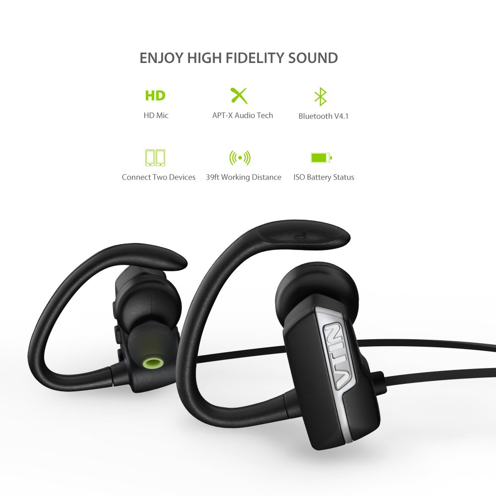 Amazon.com: Vtin VRazr Series Bluetooth Wireless Sports Headsets with APT-X Tech Built-in Mic for Smartphones - Black: Cell Phones & Accessories