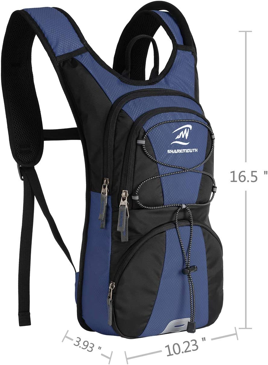 SHARKMOUTH FLYHIKER Hiking Hydration Backpack Pack with 2.5L BPA Free Water Bladder Day Trips and Trails Lightweight and Comfortable for Short Day Hikes