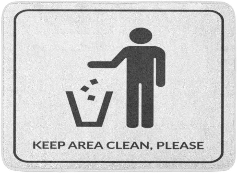Alfombrillas Alfombras de baño Alfombrilla para puerta exterior / interior Mantener limpio No tirar basura Signo Silueta de hombre tirando basura en el contenedor Sin tirar basura Símbolo Baño público