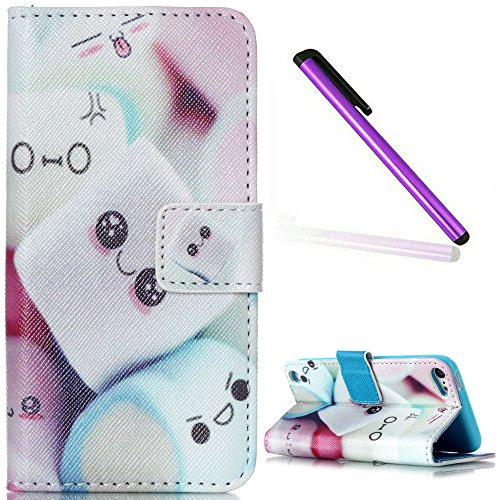 iPod Touch 5 Case iPod Touch 6 Case EMAXELER Wallet Cover [Kickstand Flip Case][Credit Cards Slot][Cash Pockets] PU Leather Flip Folio Wallet Case with Stand For iPod Touch 5/6 - Smiling Bread
