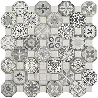 "SomerTile FOSTESGR Abacu Ceramic Floor & Wall Tile, 12.25"" x 12.25"", Grey"