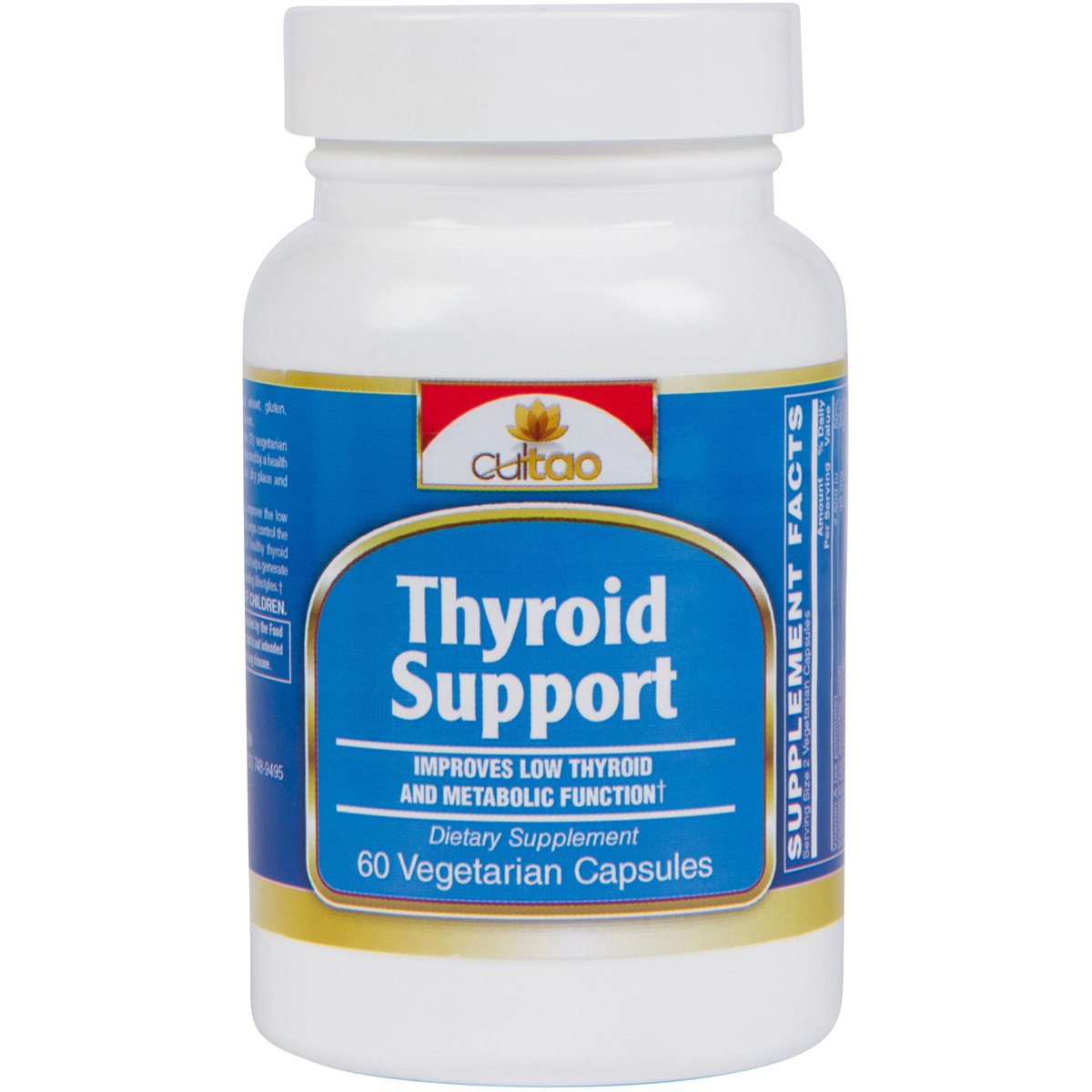 Premium Thyroid Support Supplements w/L-Tyrosine, Iodine (From Kelp), Green Tea Leaf Extract, Guggulipid, Bacopa monniera, Selenium And Vitamin A, B6, C & D - 60 Vcaps - Vegetarian Formula