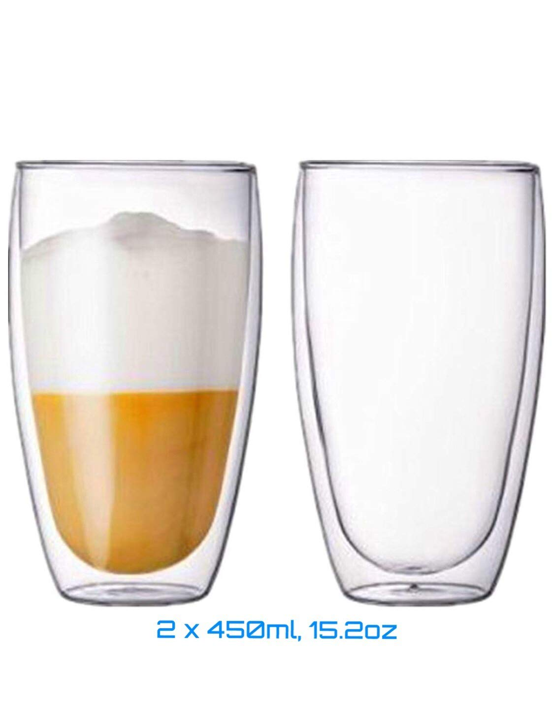 DOUBLE WALL GLASS CUP, set of 2, 450ML, 15.2OZ. Hot & Cold drinks, By Urbino USA