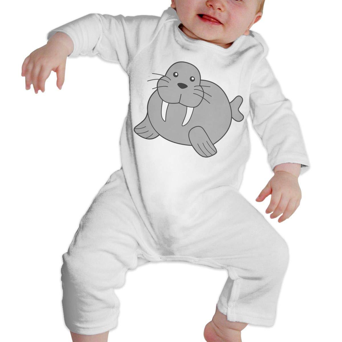 A1BY-5US Infant Babys Cotton Long Sleeve Walrus Climb Jumpsuit One-Piece Romper Clothes