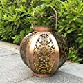 Whitelotous LED Solar Lantern Lights Outdoor Carved Flower Pattern Waterproof Garden Lights Hanging Decoration and Indoor Ambiance Decoration