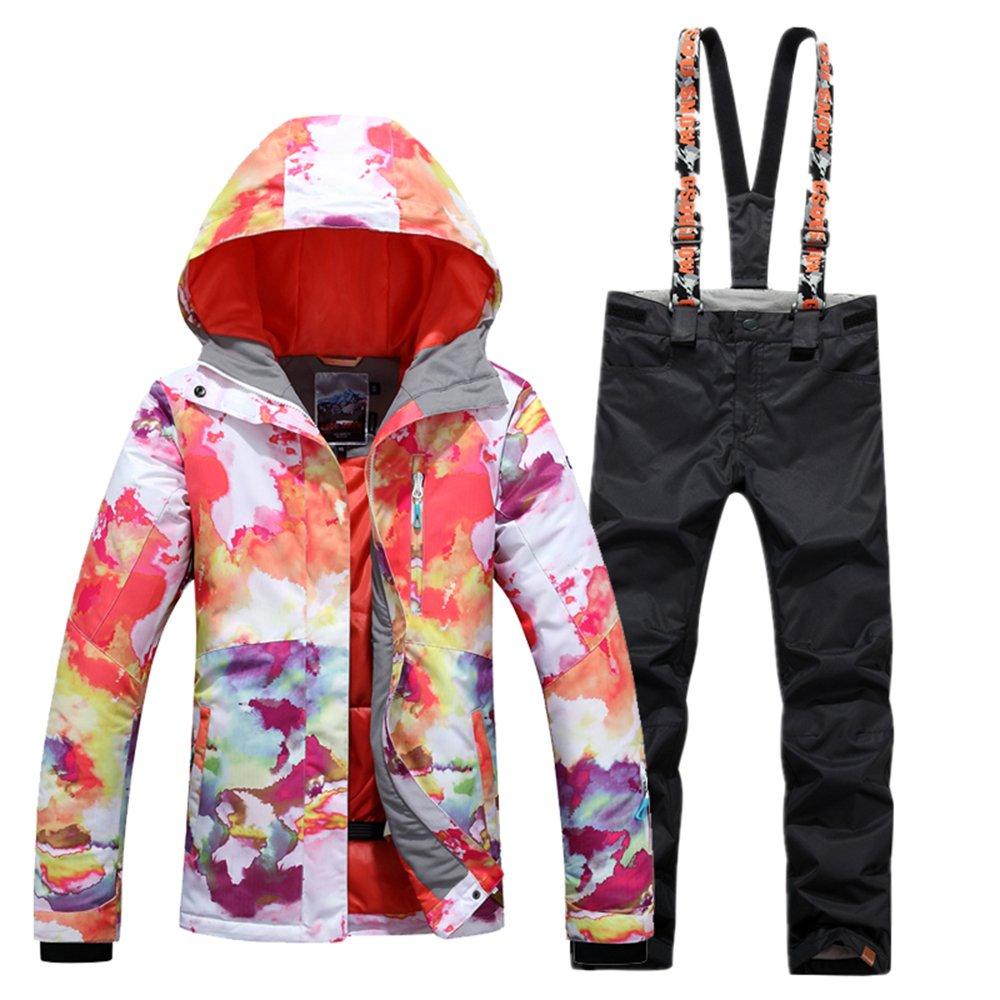 Black Bib Medium GsouSnow Women's Girl Waterproof Windprooof Hooded Ski Suit Coat Jackets Bib Pants Trousers Removable Warm Rain Outdoor Insulated Winter