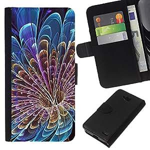 EJOY---La carpeta del tirón la caja de cuero de alta calidad de la PU Caso protector / LG OPTIMUS L90 / --Floral Pétalo Vortex Misterioso Azul