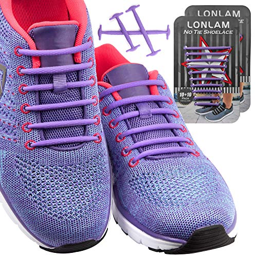 ([Upgrade] Lonlam No Tie Shoelaces (Round Stretch Strings) Silicone Elastic Bungee Rubber Laceless Lazy Tieless Shoe Laces for Adults Kids Toddlers, Sneakers Athletic Running Boot Dress Shoes (Purple))