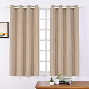 MYSTIC-HOME Faux Linen Blackout Curtains for Living Room, Beige Grommet Top Light Reducing Curtain Sets for Bedroom, Patio, Parlor (Double Width, 52 Width x 45 Length, Beige)