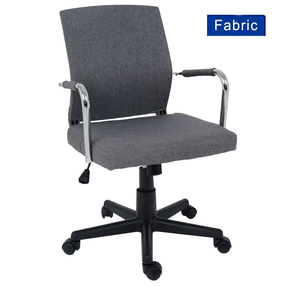 Grey Fabric Swivel Office Chair Minimalist Mid Back Adjustable Computer Desk Chair Task Chair by Wahson