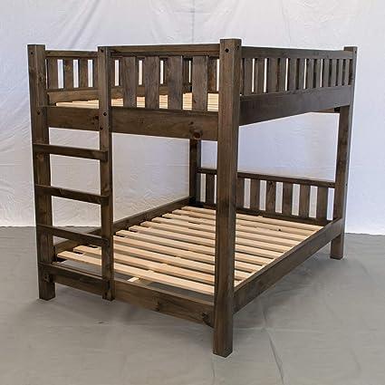 Amazon Com Rustic Farmhouse Bunk Bed Queen Queen Traditional