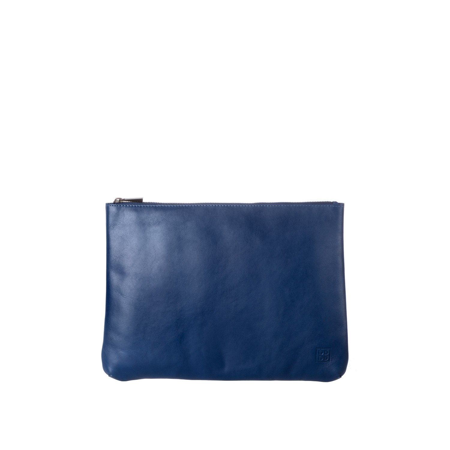 DUDU Clutch Bag Purse with Handle for ladies and men in Real Leather Slim & Large Handbag with Zipper closure - Isa - Blue