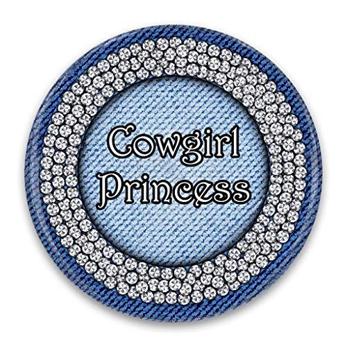 (Cowgirl Princess Artwork Design Print, 2.25 Inch Pocket Mirror, Refrigerator Magnet or Pinback Button)