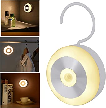 Luz de noche recargable con sensor de movimiento, luz LED para escaleras, sótano, baño, habitación infantil, garaje, armario, luz blanca cálida: Amazon.es: Iluminación