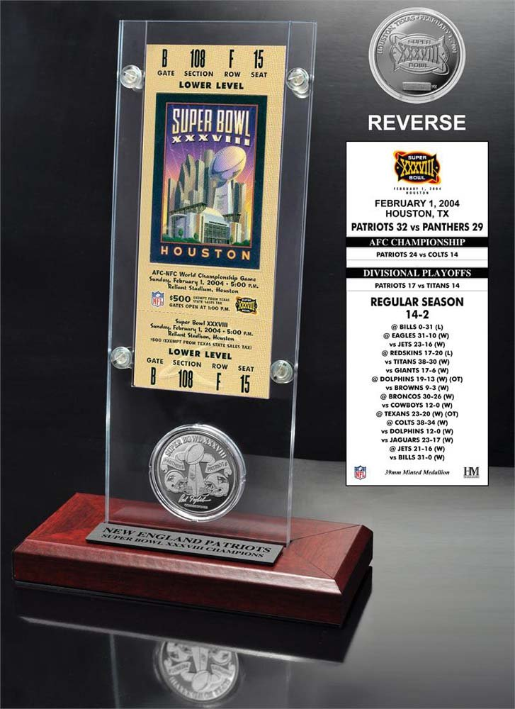 The Highland Mint NFL New England Patriots Super Bowl 38 Ticket & Game Coin Collection, 12'' x 2'' x 5'', Black