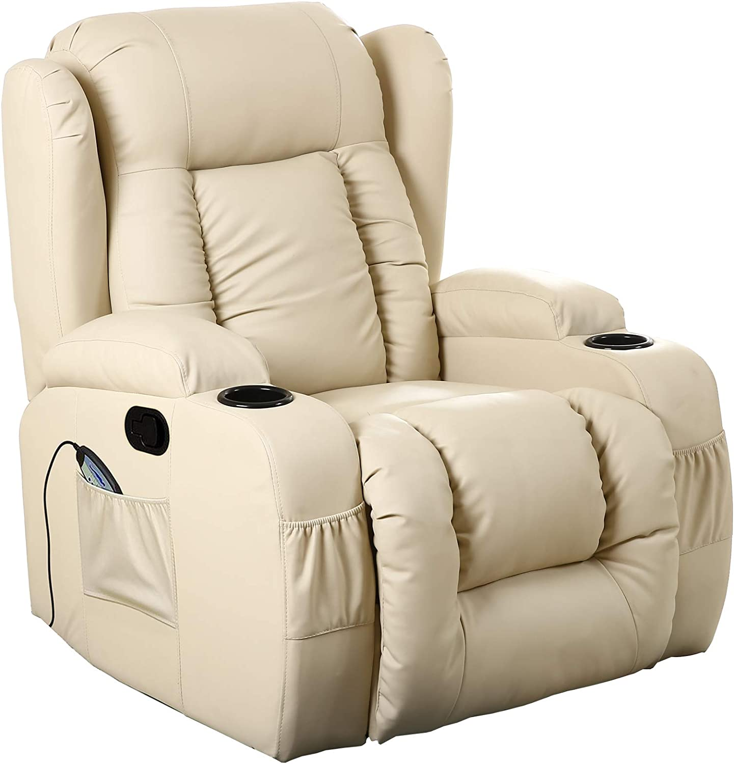 D PRO T 10 IN 1 WINGED LEATHER RECLINER CHAIR ROCKING MASSAGE SWIVEL HEATED GAMING ARMCHAIR (Cream)