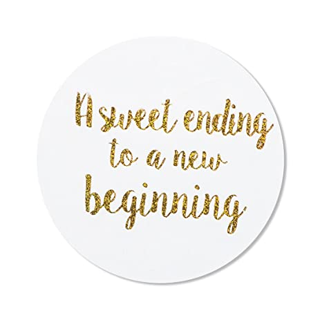 80 2 a sweet ending to a new beginning stickers wedding favor stickers