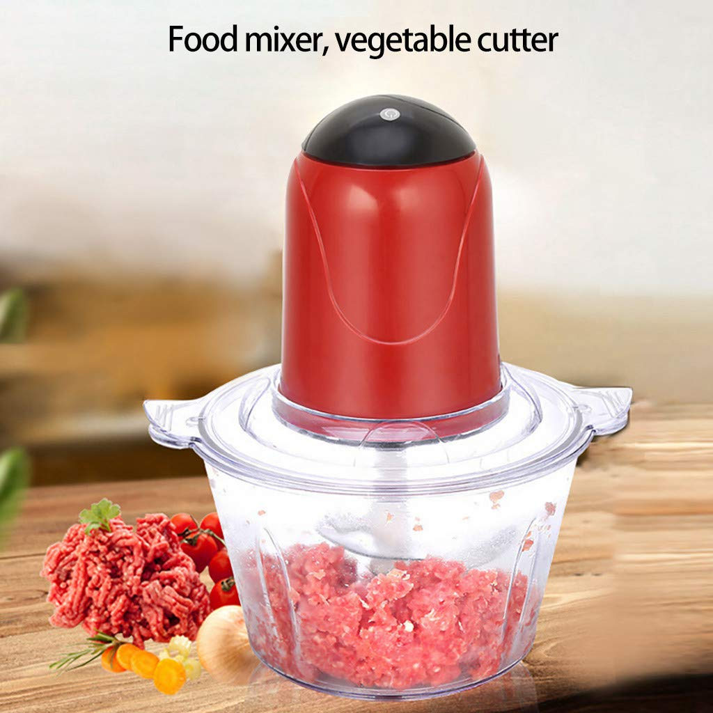 Gallity Electric Food Chopper,Multi-Function Kitchen Mixer, 4-Cup Food Processor, 2L BPA-Free Glass Bowl Blender Grinder for Meat, Vegetables, Fruits and Nuts (RED)