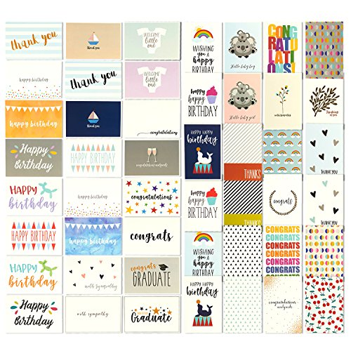 48 All Occasion Greeting Cards - Assorted Happy Birthday, Thank You, Wedding, Blank Designs, Envelopes Included - 4 x 6 -