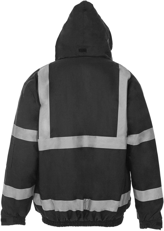 MyShoeStore Hi Vis Viz Bomber Jacket High Visibility Workwear Safety Security Hooded Padded Waterproof Taped Seams Work Wear Coat