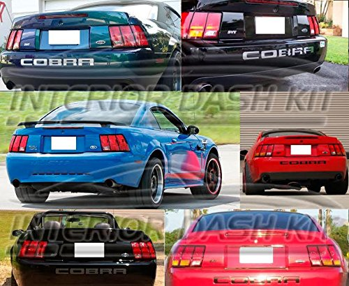 (Ford Mustang Cobra SVT Exterior Rear Bumper Chrome Tailgate Logo Trim Set Indentation 2002 2003 2004)