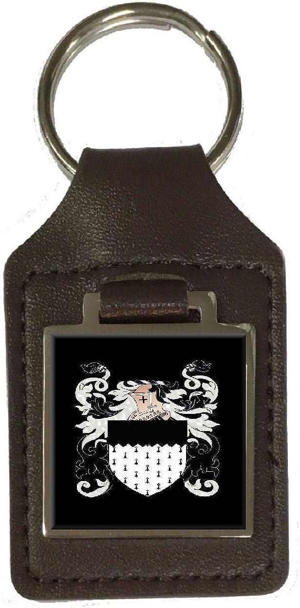 Bonner Heraldry Surname Coat Of Arms Brown Leather Keyring Engraved
